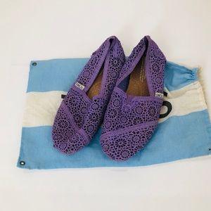 Toms Classics Purple Crochet Womens Slip On Shoes